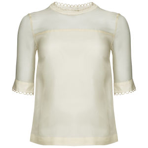 Orla Kiely Women's Giant Wallflower Print Organza Blouse - Cream