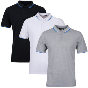 Brave Soul Men's 3-Pack Tip Polo - Light Grey Marl/White/Black