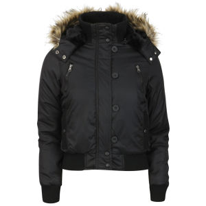 Brave Soul Women's Hooded Bomber Jacket with Fur Trim - Black