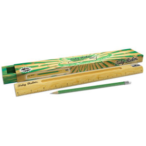 Retro Wooden Tidy Ruler with Pencil and Sharpener