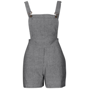 Influence Women's Chambray Look Dungaree Playsuit - Grey Marl