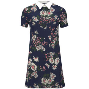 Glamorous Women's Daisy Print Collar Dress - Navy