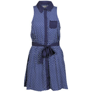 Sakura Women's Polka Dot Dress - Navy/White