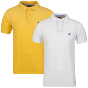 Soul Cal Men's 2 Pack Chemical Pique Polo-Shirt - White/Yellow