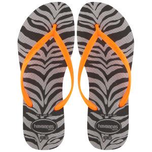 Havaianas Women's Slim Animal Print Flip Flops - Zebra