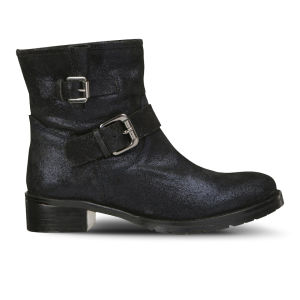Lola Cruz Women's Metallic Leather Biker Boots - Blue