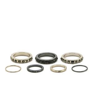 Kardashian Kollection 7 Piece Clean Ring Stack Midi Set - Gold