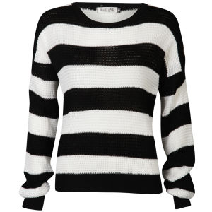 Moku Women's Monochrome Stripe Jumper - Black/White