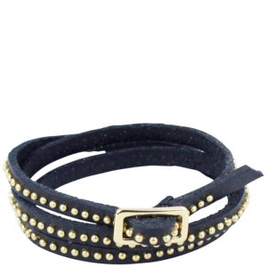 Markberg Marissa Studded Buckle Leather Bracelet - Black/Gold