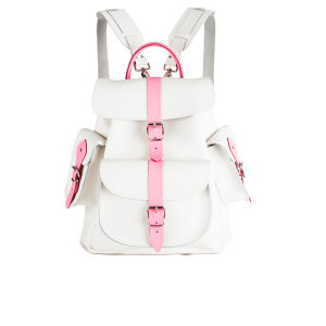 Grafea Rose Medium Leather Rucksack - White/Pink