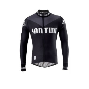 Santini Tech Wool Heritage Long Sleeve Jersey - Black