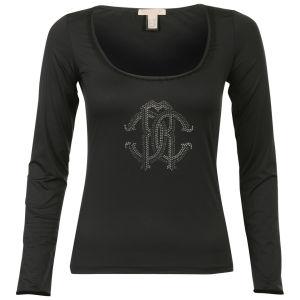 Roberto Cavalli Women's Diamante Long Sleeve T-Shirt  - Black