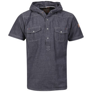 Brave Soul Men's Luchan Double Hood Shirt - Denim
