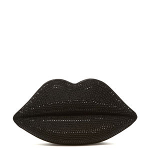 Lulu Guinness Black Swarovski Lips Clutch - Black