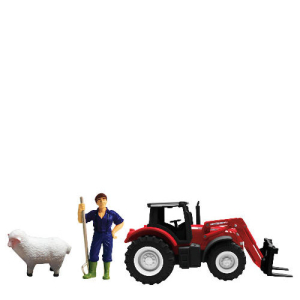 Massey Ferguson Tractor & Trailer Playset with Sheep