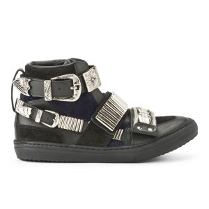 Toga Pulla Women's Buckle Suede Hi-Top Trainers - Black