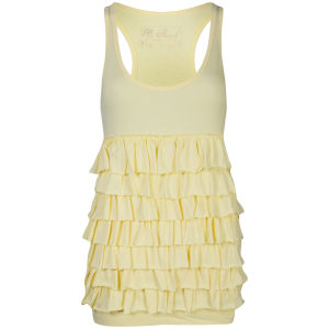 Brave Soul Women's Ruffle Tiered Vest - Sunshine Yellow