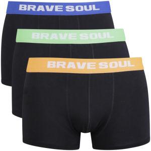 Brave Soul Männer 3er Pack Boxershorts mit Farbigem Bund - Orange/Blau/Lindgrün