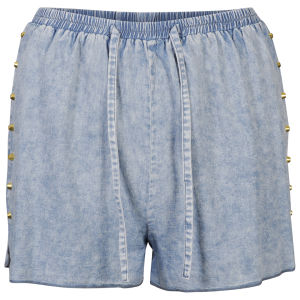 Influence Women's Studded Denim Look Shorts - Chambray Blue
