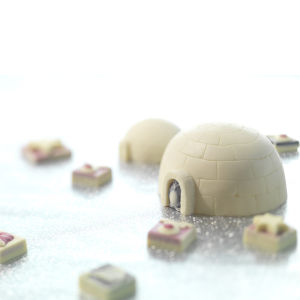 Large Igloo with White Chocolate Penguins