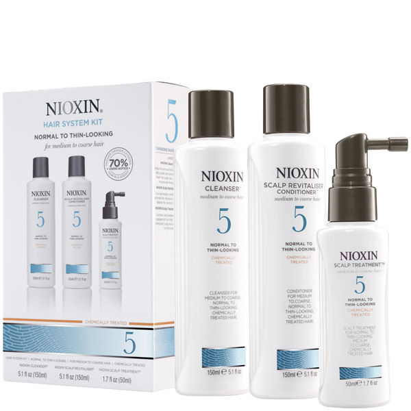 NIOXIN Hair System Kit 5 for Medium to Coarse, Normal to Thin Looking, Natural and Chemically Treated Hair (3 products)