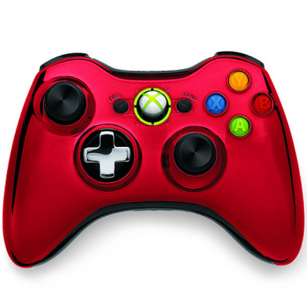 xbox 360 chrome wireless controller red games accessories. Black Bedroom Furniture Sets. Home Design Ideas