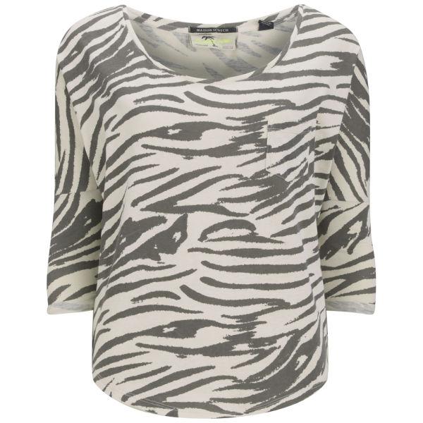 Maison Scotch Women's Zebra Print Long Sleeve T-Shirt - Vintage White