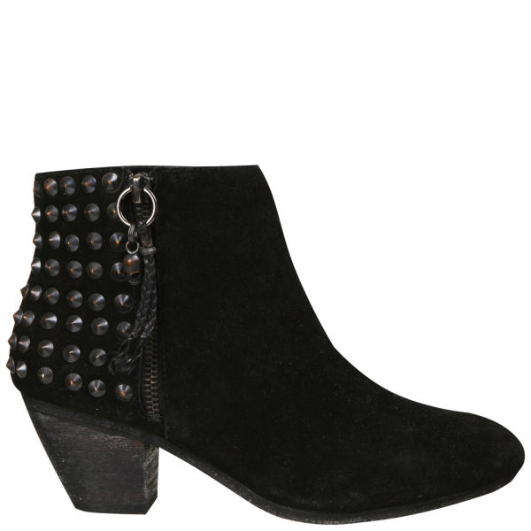 Ash Women's Nevada Studded Heeled Suede Ankle Boots - Black