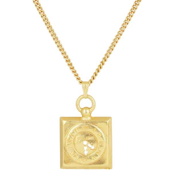 susan caplan gold plated chain necklace square