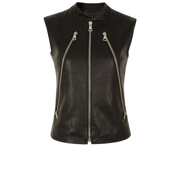 Maison Martin Margiela Women's S31AM0188 SX7248 Leather Jacket - Black