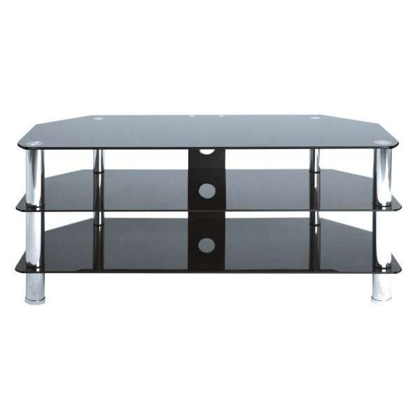 levv black and chrome tv stand for up to 50 inch tvs iwoot. Black Bedroom Furniture Sets. Home Design Ideas