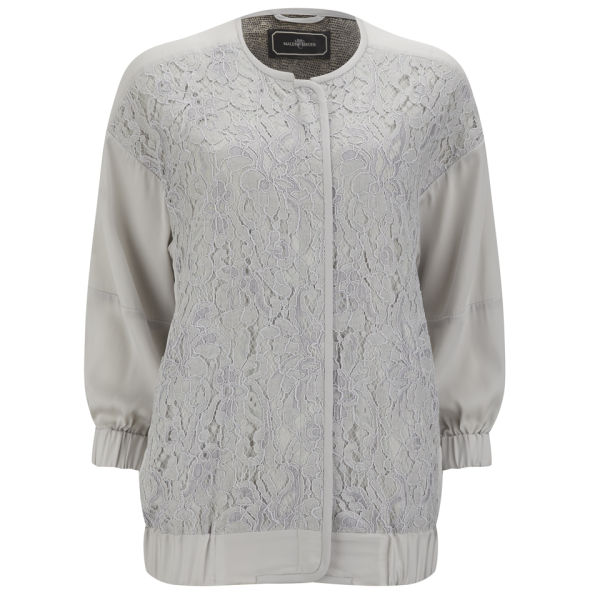 By Malene Birger Women's Asia Silk Bomber Jacket - Pale Grey