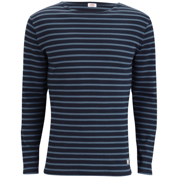 Armor Lux Men's Long Sleeved Striped T-Shirt - Rich Navy/Storm Blue