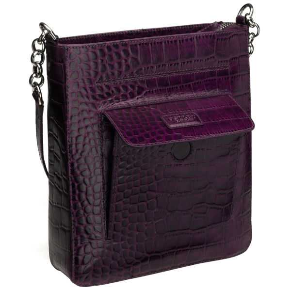 OSPREY LONDON The Carapace Polished Croc Leather Cross Body Bag ...