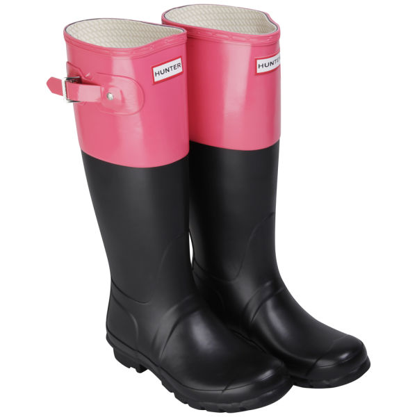 Hunter Women's Original Colour Block Wellies  - Black/Crimson Pink