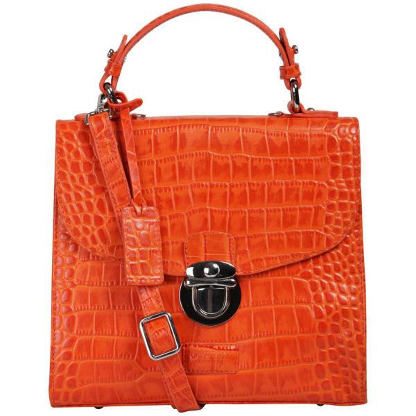 OSPREY LONDON The Maudie Polished Croc Leather Cross Body Bag - Orange