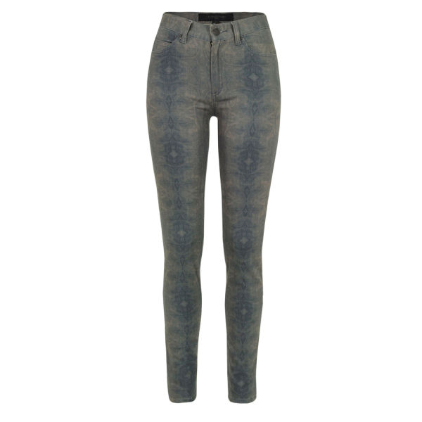 Surface to Air Women's Turtle Marble Print Skinny Jeans - Blue