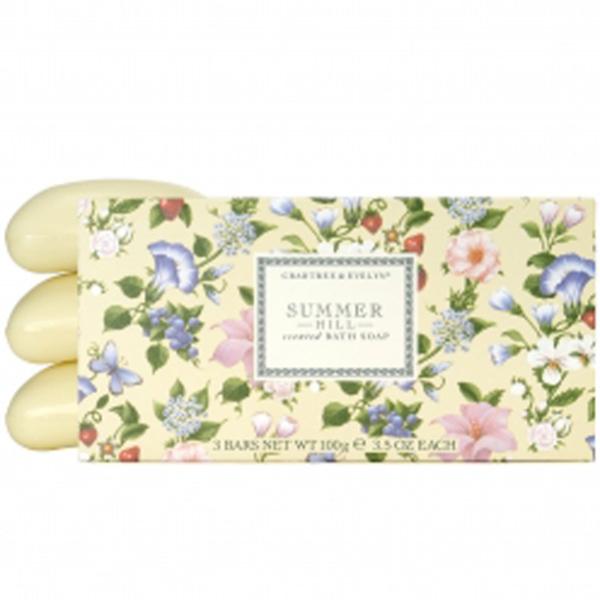 Savon de bain parfumé Crabtree & Evelyn Summer Hill  (3x100g)