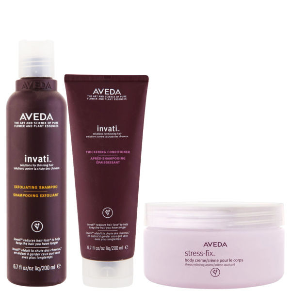 Aveda Invati Shampoo und Spülung 200ml mit Stress-Fix Körpercreme