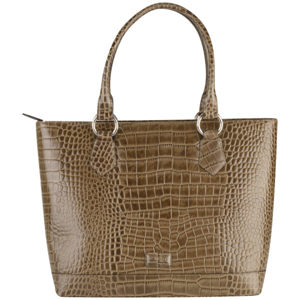 OSPREY LONDON Trader Croc Leather Tote Bag - Grey