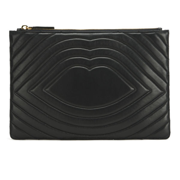 Lulu Guinness Lip Quilted Leather Purse - Black
