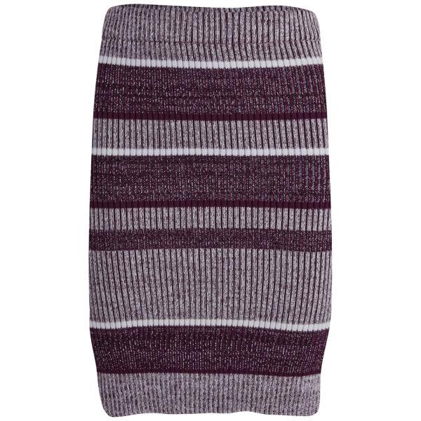 T by Alexander Wang Women's Rib Knitted Pencil Skirt - Bordeaux