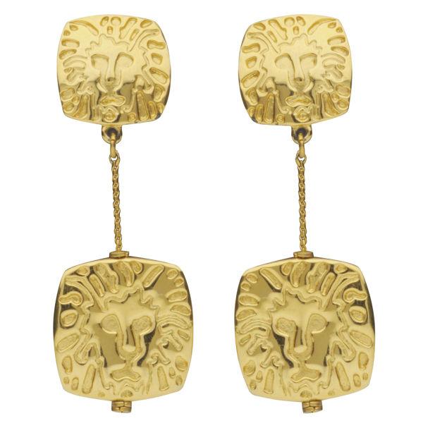 Susan Caplan Vintage Anne Klein Gold Plated Lions Head Drop Earrings