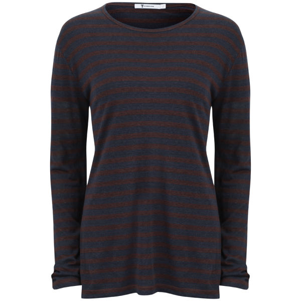T by Alexander Wang Women's Linen Stripe Long Sleeve Tee - Ink and Iodine