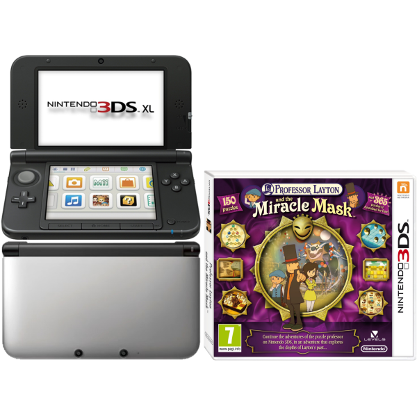 Nintendo 3ds xl console silver and black bundle includes professor layton and the mask of - Nintendo 3 ds xl console ...