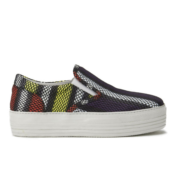 House of Holland Women's Platform Leather Slip-on Trainers - Purple Viper
