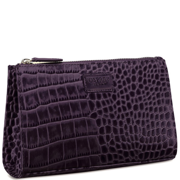 OSPREY LONDON The Large Belle Polished Croc Leather Make Up Bag - Purple