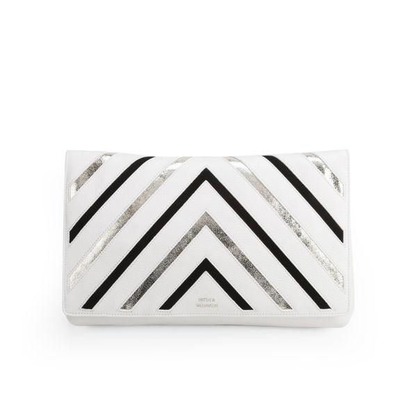 Matthew Williamson Women's Nomad Metallic Stripe Leather Clutch Bag - White