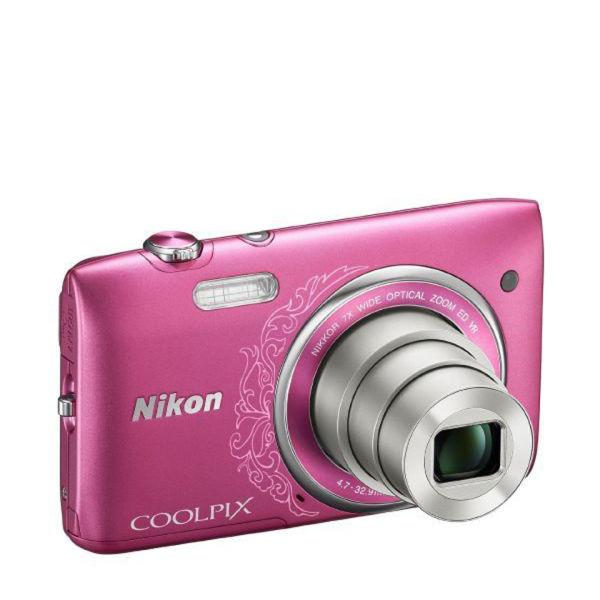 Nikon Coolpix S3500 Compact Digital Camera - Pink Lineart
