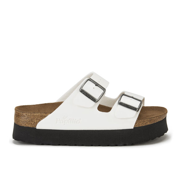 Birkenstock Papillio Women's Arizona Slim Fit Patent Double Strap Platform Sandals - White Patent